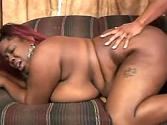 Sex addicted black fatty gets off in bed