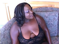 Horny ebony BBW gets her plump booty cock stuffed